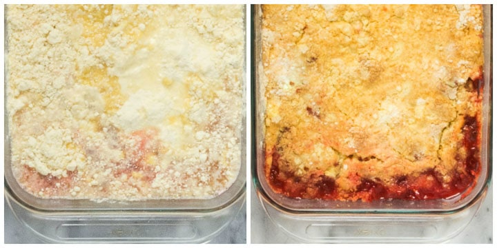 how to finish rhubarb dump cake