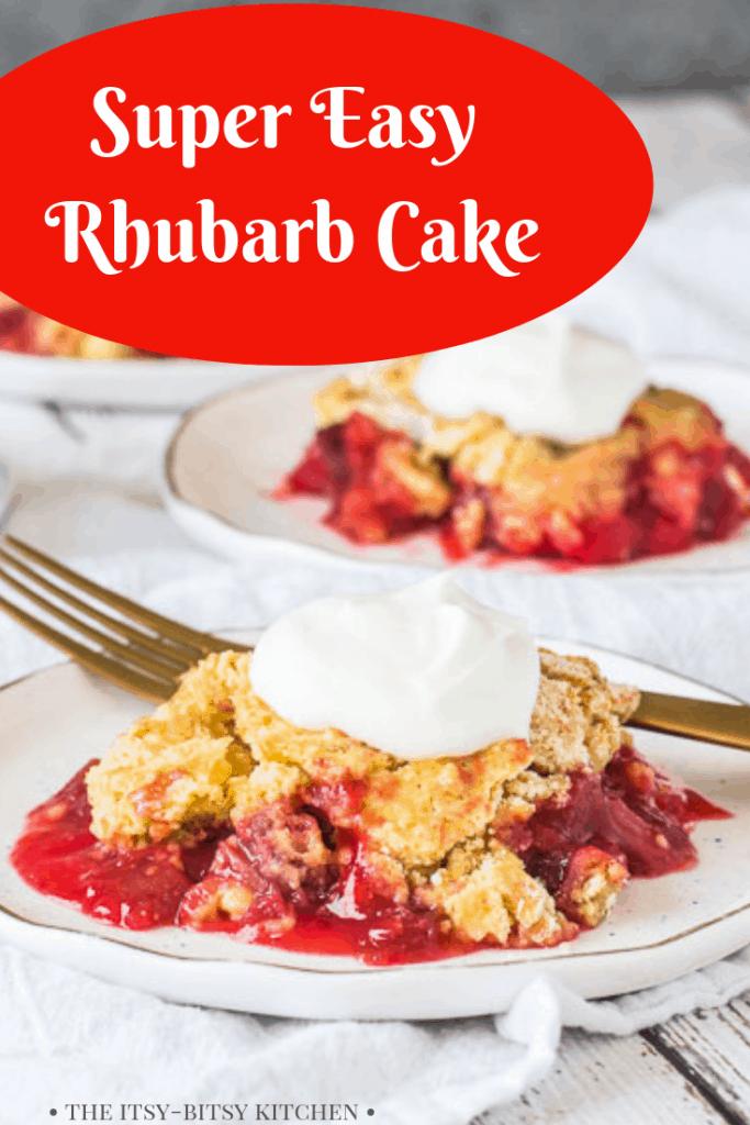 Pinterest image for easy rhubarb cake