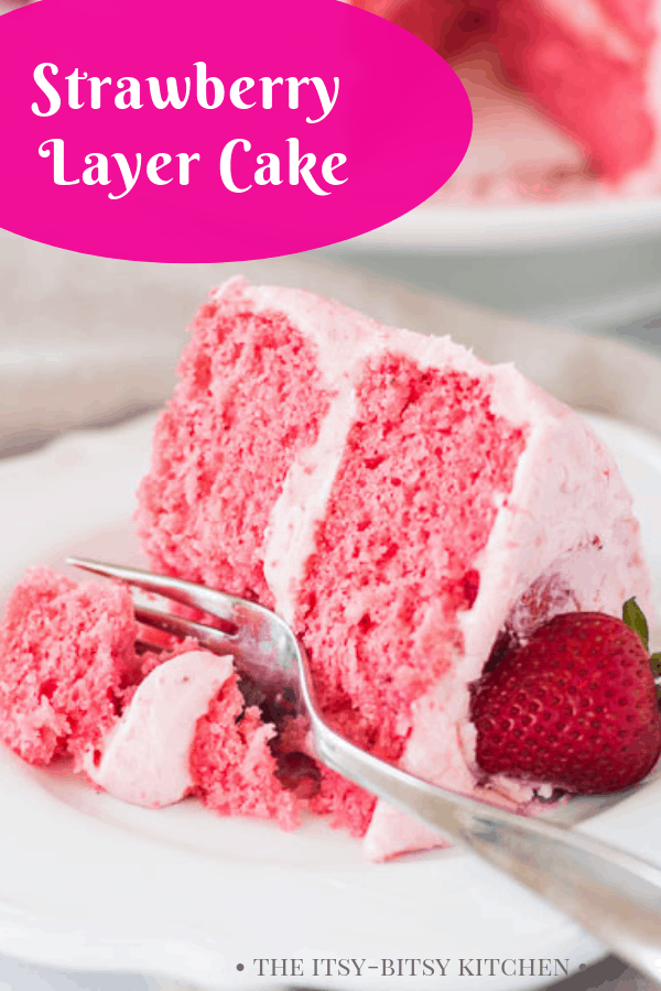 Pinterest image for strawberry layer cake