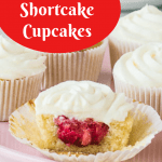 Pinterest image for strawberry shortcake cupcakes
