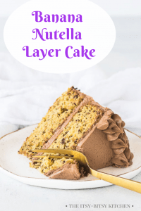 Pinterest image for banana Nutella cake with text overlay