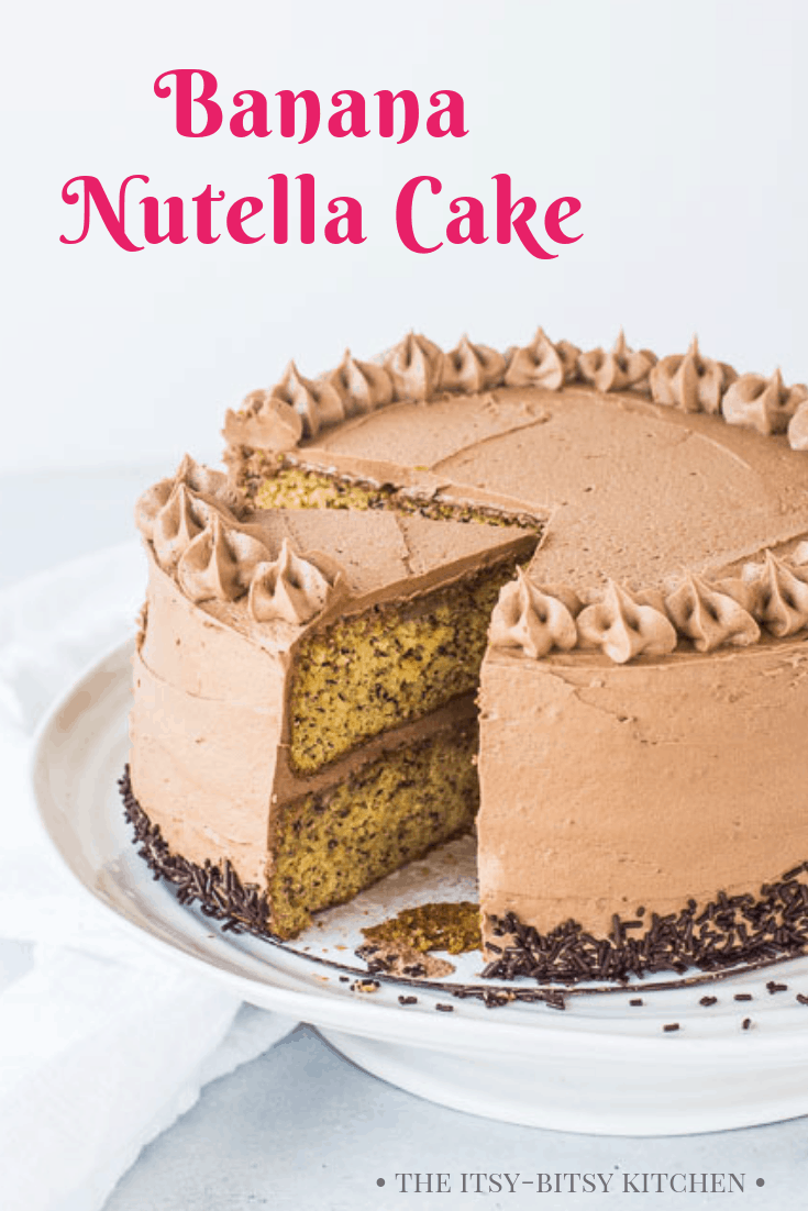 banana Nutella cake pinterest image with text overlay