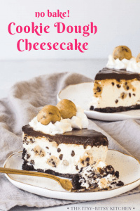 Pinterest image for cookie dough cheesecake with text overlay