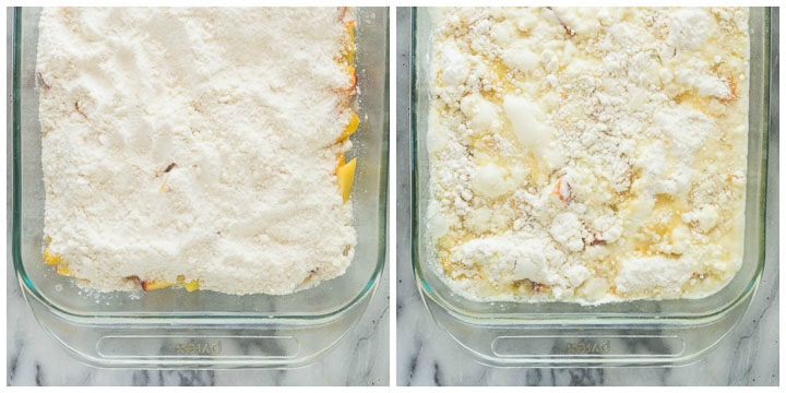 how to make fresh peach dump cake step by step 2