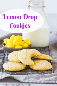 Pinterest image for lemon drop cookies with text overlay