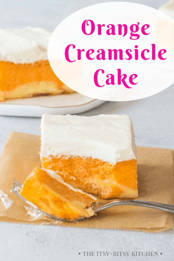 Pinterest image for orange creamsicle cake with text overlay