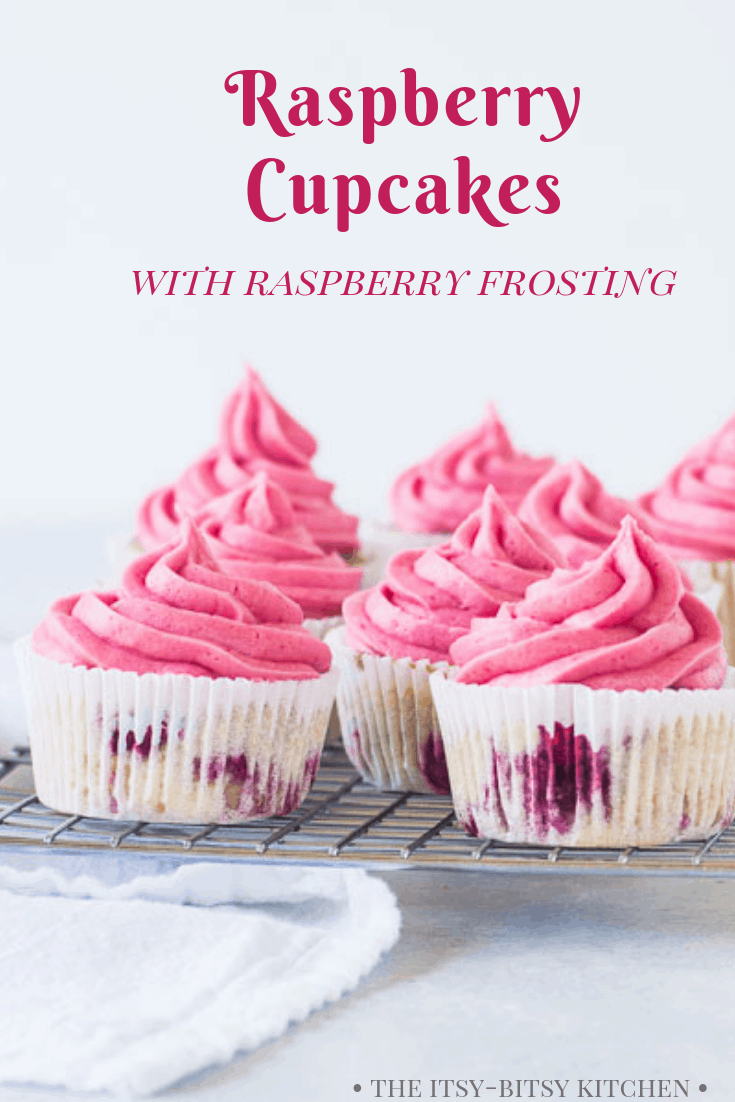 pinterest image for raspberry cupcakes with text