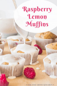 pin image for raspberry lemon muffins