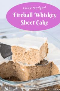 Pinterest image for Fireball Whiskey cake