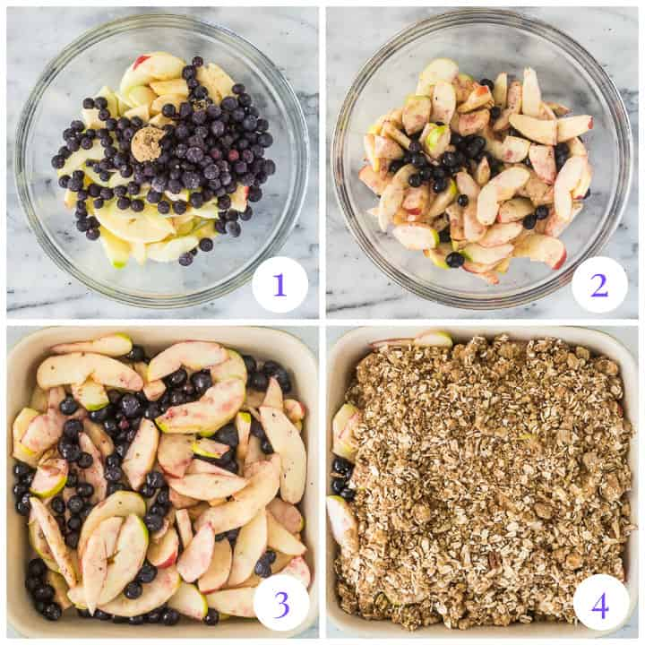 how to make apple blueberry crisp step by step