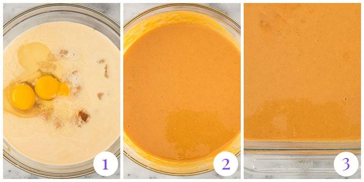 how to make pumpkin pie cake steps 1 through 3