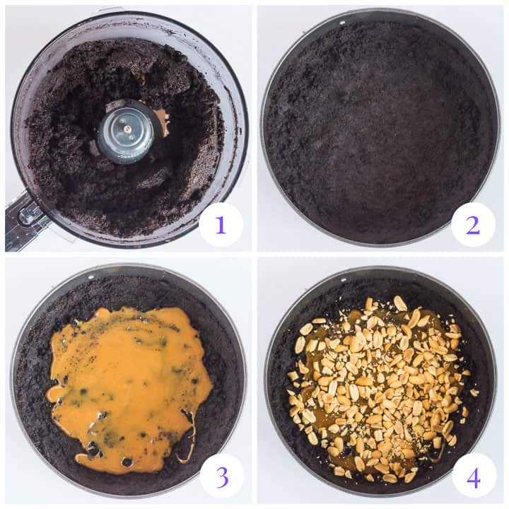 how to make Oreo crust with caramel step by step
