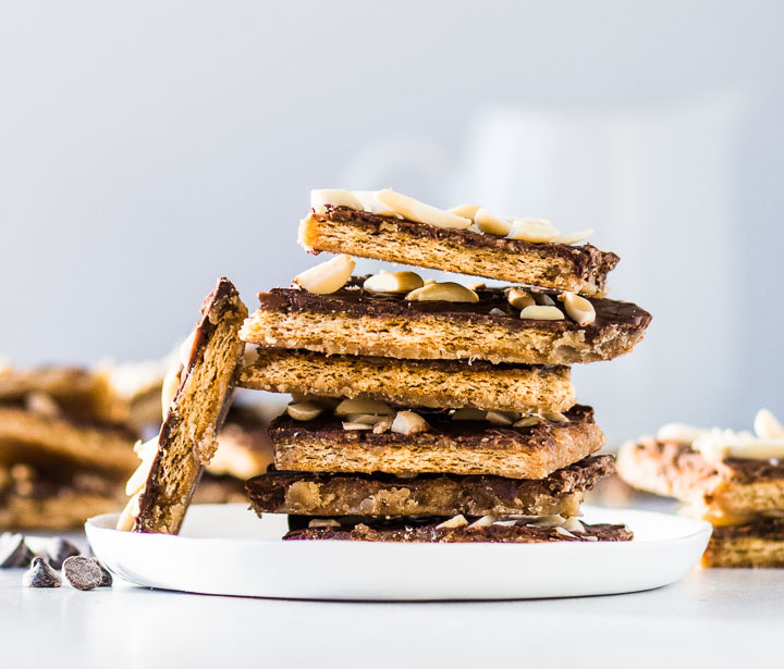 stack of easy graham cracker candy on a plate