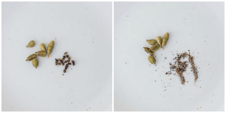 cardamom before and after it's ground