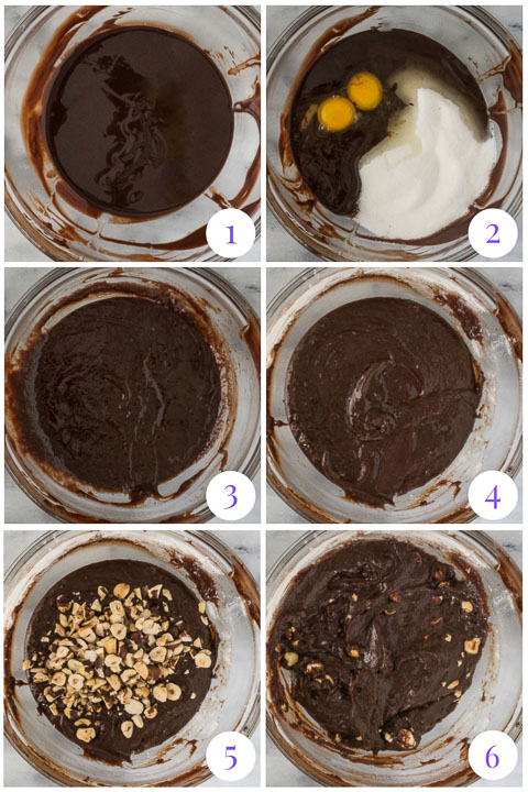 how to make chocolate hazelnut brownies step by step