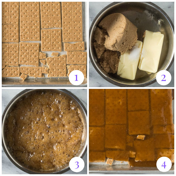 how to make graham cracker toffee steps 1 through 4