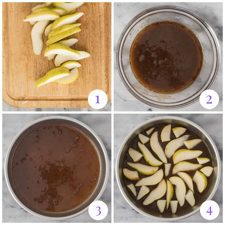 how to make pear upside down cake topping
