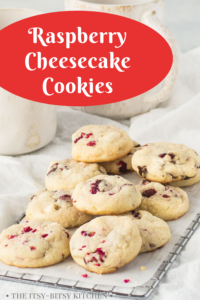 pin image for white chocolate raspberry cookies