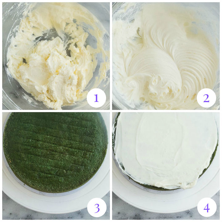 how to assemble cake and make cream cheese frosting
