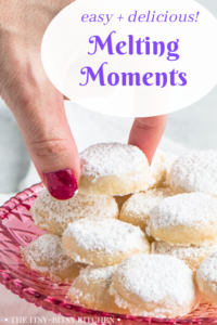 Pinterest image for melting moments cookies with text overlay