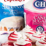 Pinterest image for candy cane cupcakes
