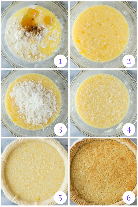 how to make coconut custard pie step by step