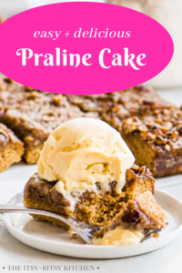 Pinterest image for praline cake