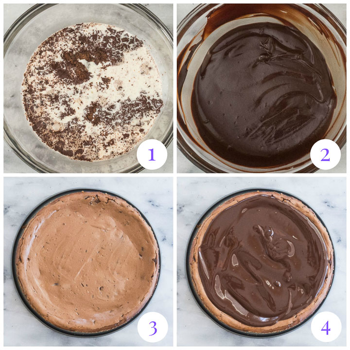 how to make chocolate ganache and assemble cheesecake