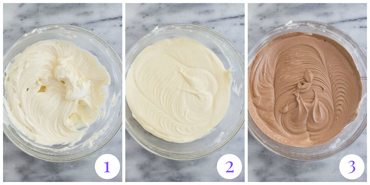 how to make chocolate cheesecake filling steps 1 through 3
