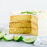 sliced lime cake on a cake plate