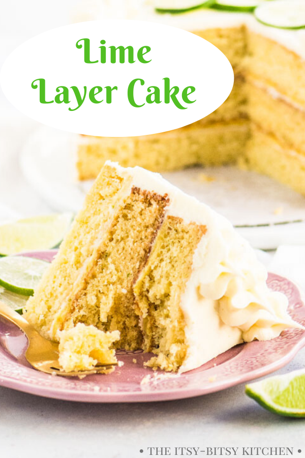Pinterest image for lime cake with text overlay