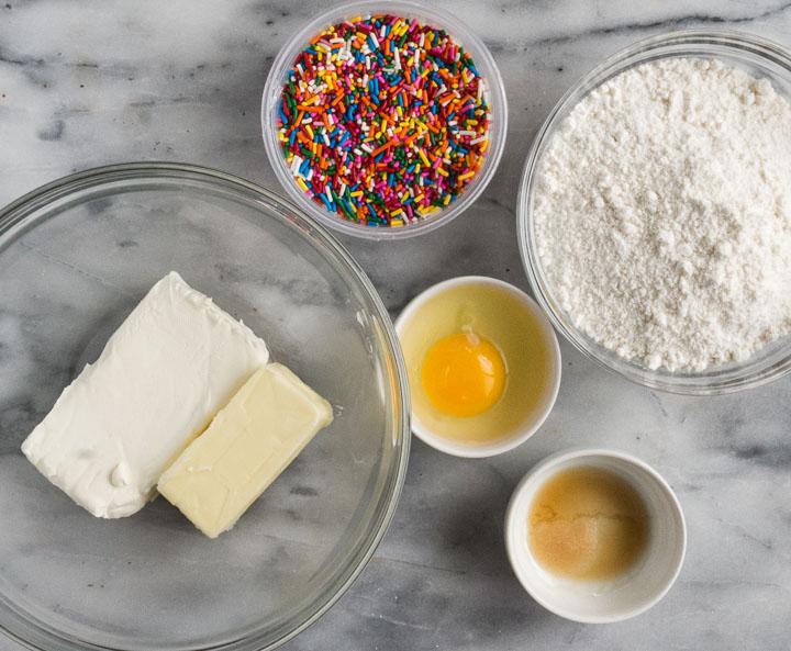 overhead shot of cake mix cookies ingredients