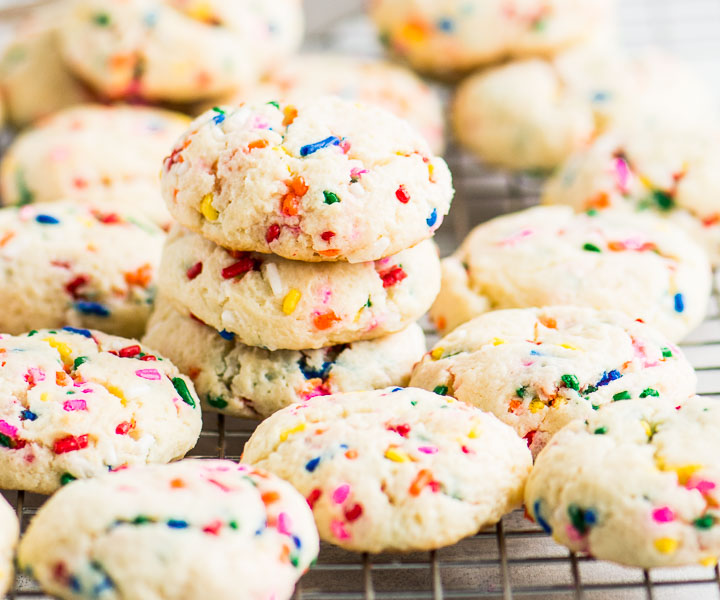 cake mix funfetti cookies on a wire cooling rack
