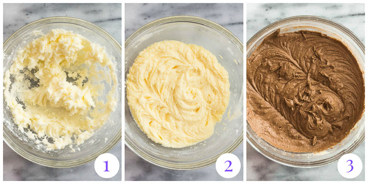 chocolate cake batter steps 1 through 3