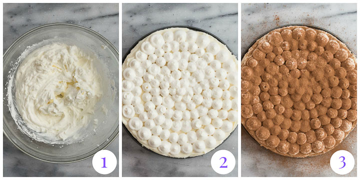 how to finish cheesecake with whipped cream and cocoa powder