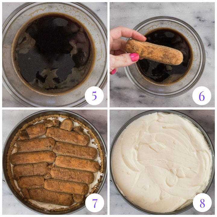 how to make tiramisu cheesecake steps 5 through 8