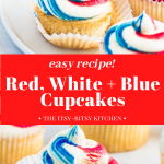 Pinterest image for fourth of July cupcakes