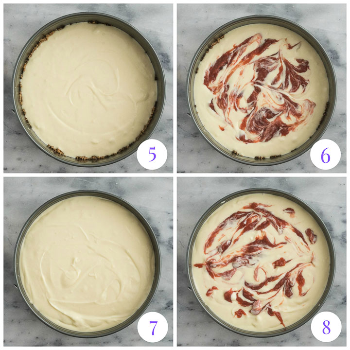 how to assemble rhubarb cheesecake step by step