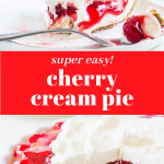 Pinterest image with two photos of pie and text in the middle