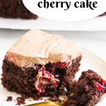 Pinterest image for cake with slice of cake on a plate and text overlay