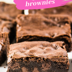 Pinterest image of sliced brownies with text overlay