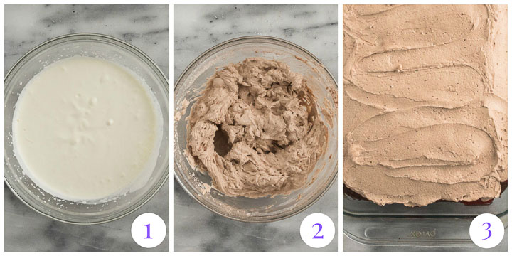 chocolate whipped cream topping step by step