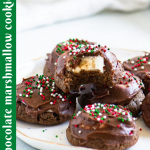 pinterest image for chocolate marshmallow cookies with text overlay