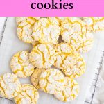 Pinterest image for lemon cake mix cookies with text overlay