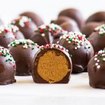 cookie butter truffles with red and green sprinkles