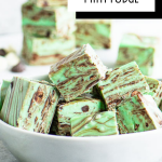 pinterest image for chocolate mint fudge