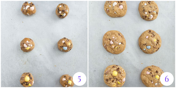 cookies arranged on baking sheets before and after they're baked