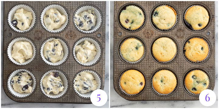 cupcakes in a muffin pan before and after they've been baked