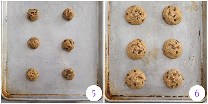 cookies on a baking sheet to show what they look like before and after they've been baked
