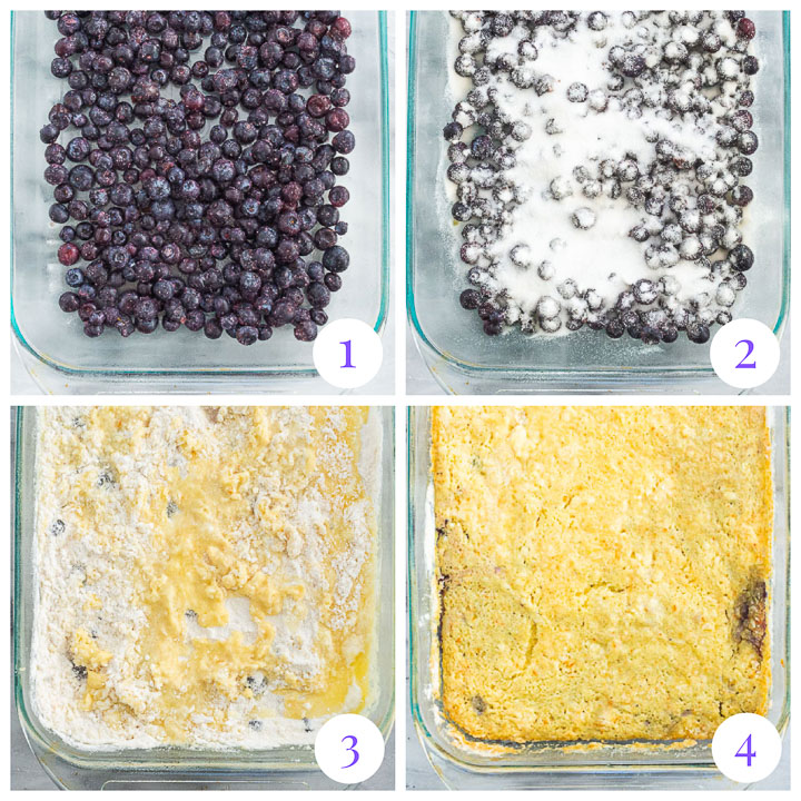 how to make cake mix blueberry cobbler step by step